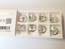 8 Swarovski Buttons 23mm Diameter Clear Crystal Glass Round sew On 3015 Elements